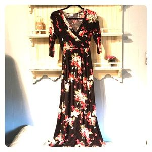 Beautiful and comfy black and red floral dress